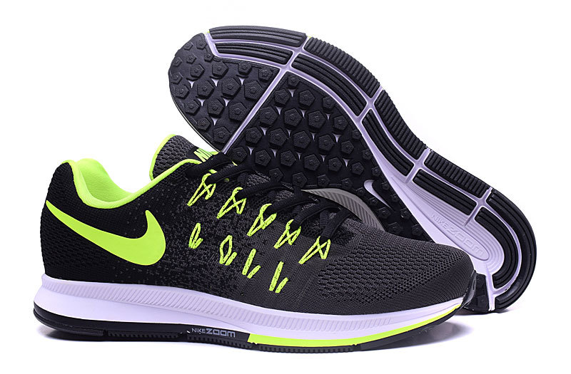 Men's Nike Air Zoom Pegasus 33 Running Shoes Black/Dark Grey/Fluorescent Green