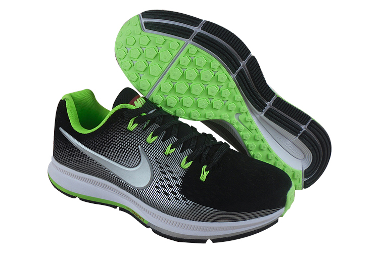 Men's Nike Air Zoom Pegasus 34 Running Shoes Black/Grey/Fluorescent Green