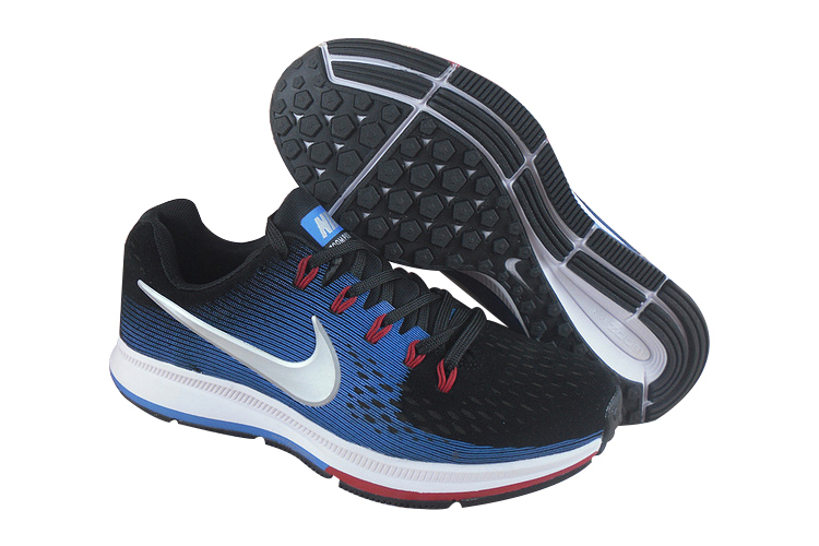 Men's Nike Air Zoom Pegasus 34 Running Shoes Black/Royal Blue