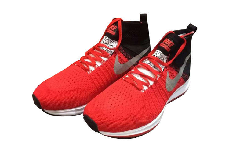 Men's Nike Air Zoom Pegasus All Out Flyknit Running Shoes Total Crimson/Black/Grey