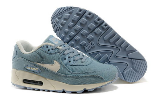 Wmns Nike Air 90 Womens Shoes Denim Light Jeans Blue Rice Red China