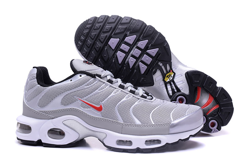 Men's Nike Air Max TN Shoes Silver Grey/White/Red